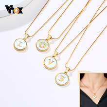 Vnox Temperament Initial Coin Pendant for Women Geometric Square Round Necklace Xmas Gift to GF Wife Daughter