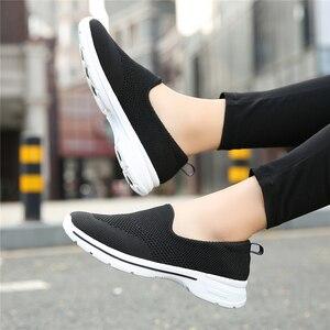 Image 4 - STQ Thu Đế Phẳng Dệt Thoáng Khí Lưới Cho Nữ Cho Nữ Giày Nữ Trọng Lượng Nhẹ Giày Slip On Giày Sneaker 1938