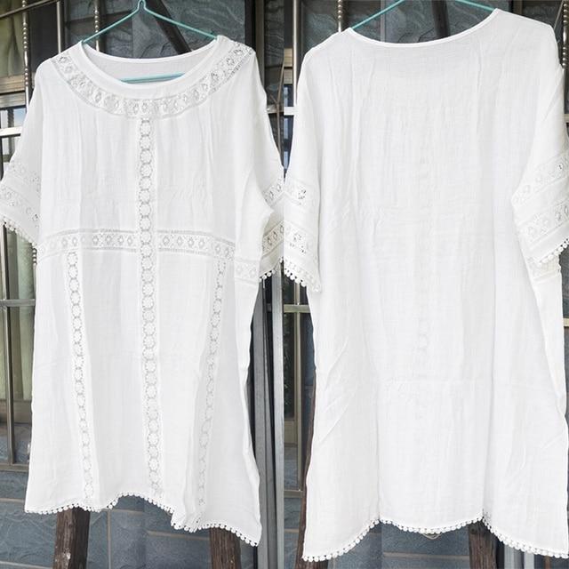 Paros de plage blanc paros Mini robe dentelle Bikini couvrir été maillots de bain femme Sexy maillot de bain couvrir tunique