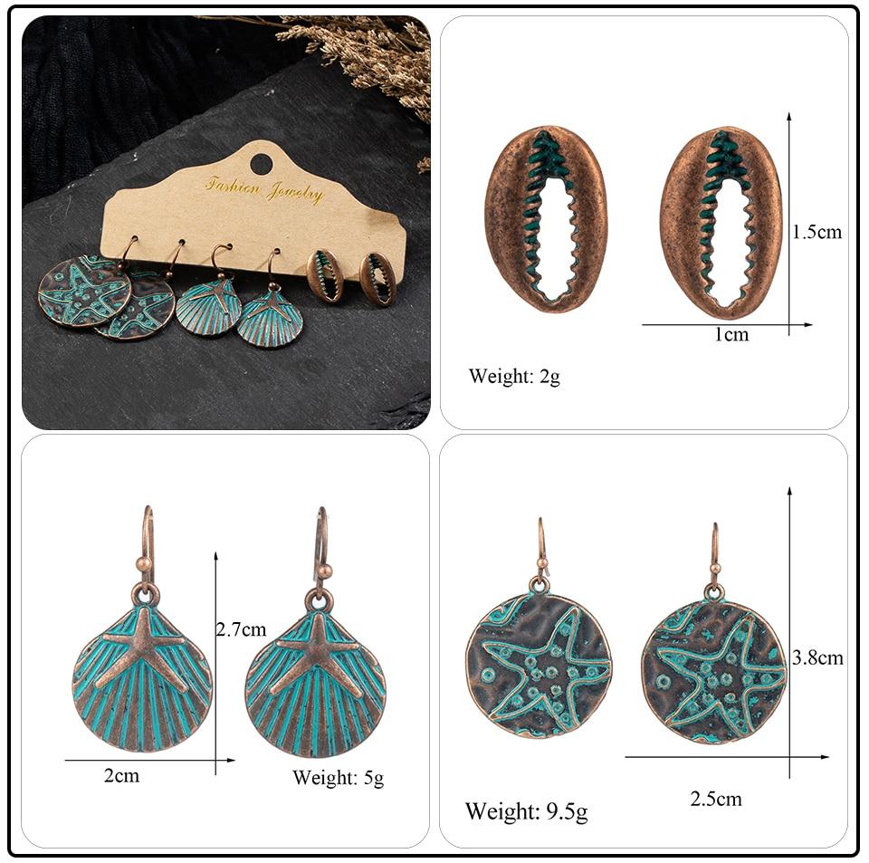 Bohemia Sea Shells Drop Earrings for Women Sets Vintage Ethnic Big Round Stones Wooden Tassel Fringe Earring Women's Set Jewelry (12)