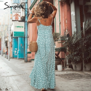 Image 3 - Simplee Elegant Polka dot boho women midi summer dress Sexy v neck strap button A line dress Female print beach vestidos