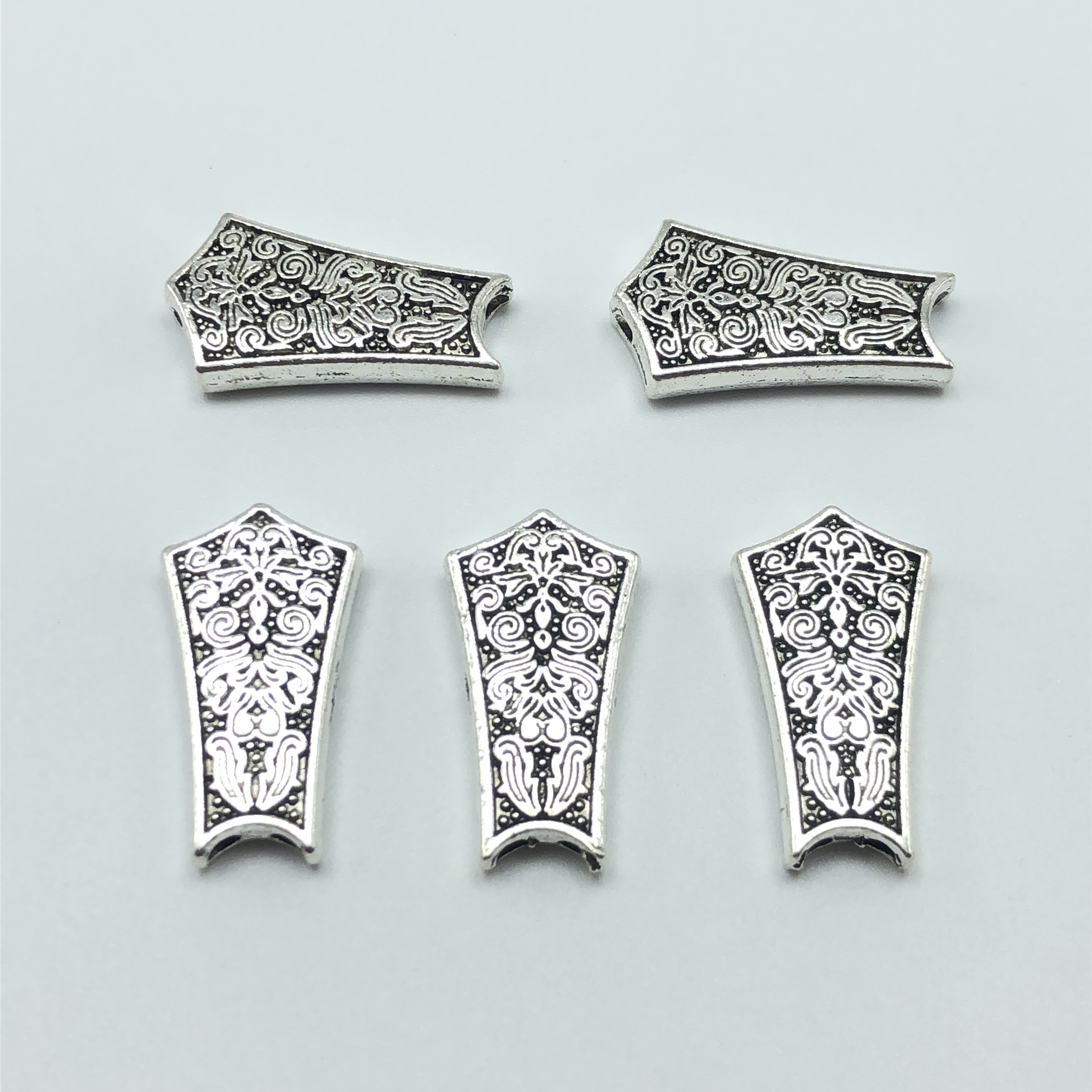 5pcs Double Hole Carved Antique Silver Shield Shape Connector For Jewelry Making DIY Handmade Accessories