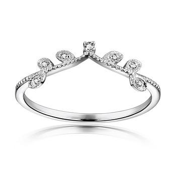 Elegant Crown Diamond 18K Genuine Real True Solid Gold Rings Bands for Women Lady Girlfriend Fancy Upscale Office Jewelry Gift 2