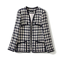 Handmade Luxury Jacket for Women Fashion Vintage V Neck Covered Button Tweed Handwork Houndstooth Coat