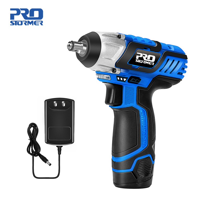 PROSTORMER 12V Electric Wrench 100NM Torque 3/8 Inch Cordless Wrench 2000mAh Lithium Rechargeable Battery Car Repair Power Tool