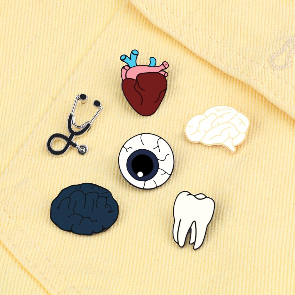 Organ Brain Eye Tooth Mini Stethoscope Brooch Enamel Pin For Doctor Nurse Dentist Jackets Collar Lapel Pin Badge Medical Jewelry