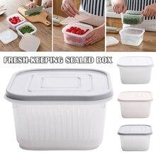 2-in-1 Kitchen Strainer Square Drain Sealed Box Ginger Garlic Onion Food Container Crisper MJJ88 variability in onion allium cepa l
