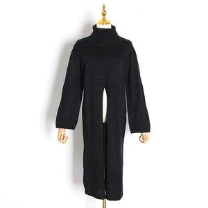 Image 5 - Женский вязаный свитер TWOTWINSTYLE, черный пуловер оверсайз с длинным рукавом и разрезом на осень