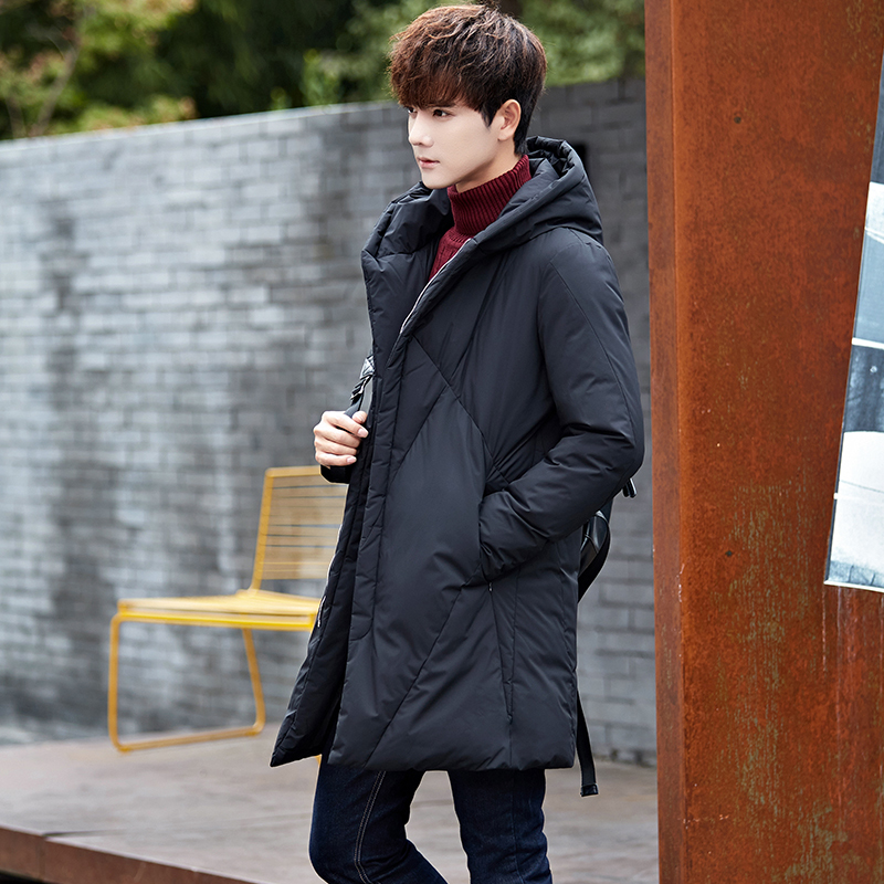 Duck Down Jacket Men Long Student Men's Winter Jackets Hooded Thick Warm Black Coat Overcoat Doudoune Homme KJ499