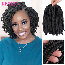 Riversa Hair Spring Twist Hair 8Inch Fluffy Crochet Braids Synthetic Hair Extensions Braids Curly Twists 15strands/pc For Women