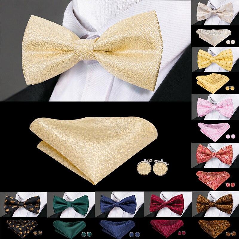 Hi-Tie Luxury Gold Silk Bow Ties For Men Fashion Men's Yellow Bowtie Handkerchief Cufflinks Set Bow Tie For Man Wedding F-771