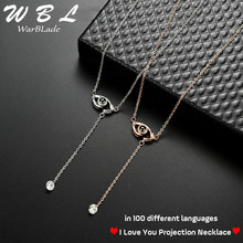 I love you Projection 100 languages Pendant Necklace Women Gold Silver Evil eye Necklace Romantic Love Memory Wedding Necklace(China)
