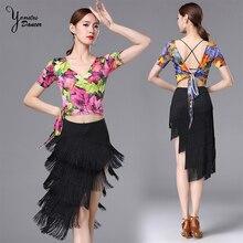 New Adult Latin Dance Performance Clothes V-Neck Lace Up Short Tops Flowers Print Irregular Milk Silk Tassel Skirt for Dancer