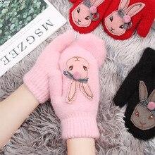 Модные брендовые перчатки из кролика с героями мультфильмов, зимние детские толстые теплые перчатки для девочек, милые шерстяные варежки из кроличьей шерсти