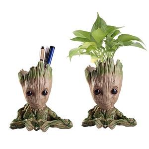 Image 1 - Baby Groot Blumentopf Blumentopf Pflanzer Figuren Baum Mann Nette Modell Spielzeug Stift Topf Garten Pflanzer Blumentopf Geschenk für kinder