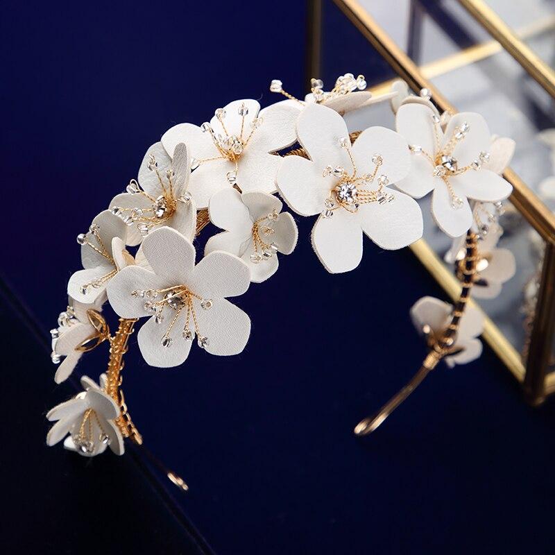 Винтажная тиара с белыми цветами для невест, обручи для волос с кристаллами, мягкие свадебные вечерние украшения для волос