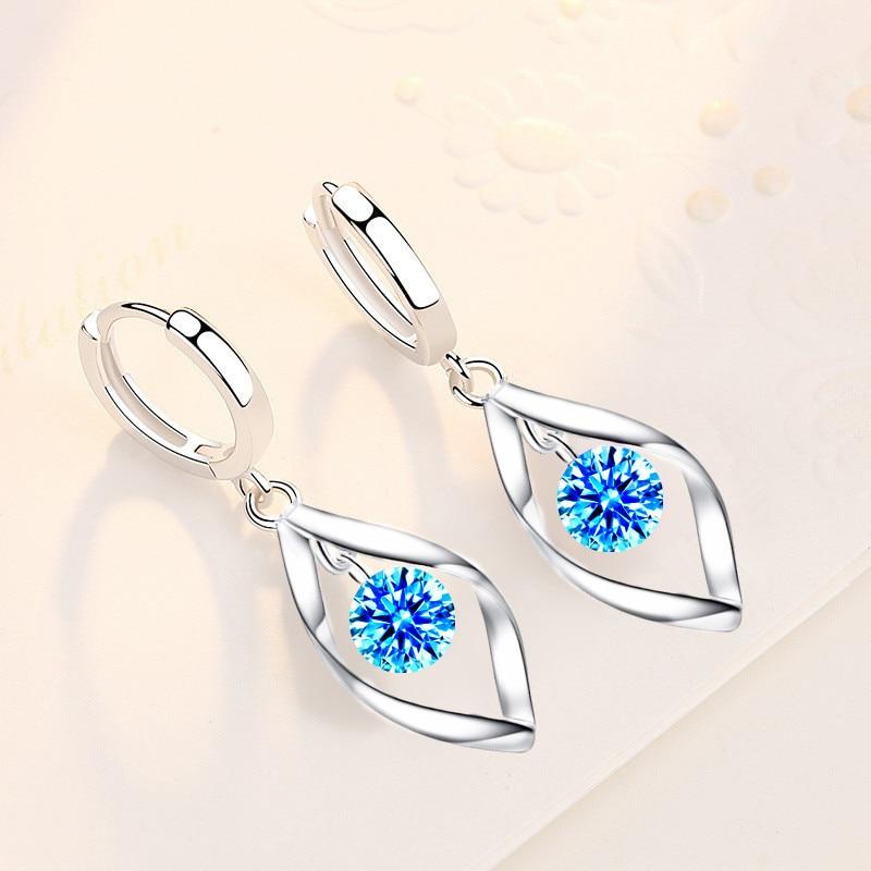 XIYANIKE de Plata de Ley 925 de reducción de pendientes de plata giratorio amor pendiente de perlas para mujer MEDIADOS DE-longitud pendientes