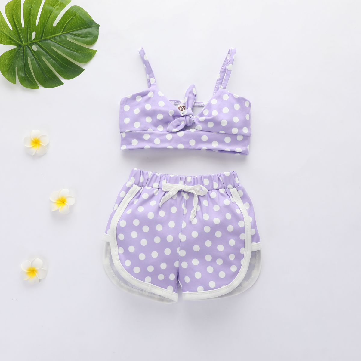 Emmababy Toddler Baby Girl Clothes Sleeveless Sling Vest Crop Tops Short Pants 2Pcs Outfits Polka Dot Sunsuit Set