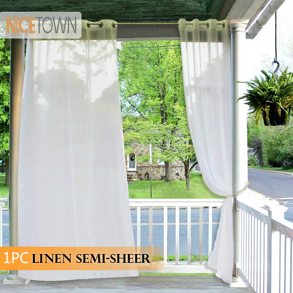 NICETOWN 1PC Outdoor Curtain for Porch Linen Look Window Treatment Silver Grommet Water Repellent Outdoor Semitransparent Sheer