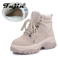 Fujin Brand New Autumn Winter Shoes Women Sneakers Genuine Leather Flat Platform Plush for Womens White