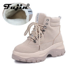 Fujin flambant neuf automne hiver chaussures femmes baskets en cuir véritable plate-forme plate en peluche pour hiver femmes marque chaussures blanches(China)