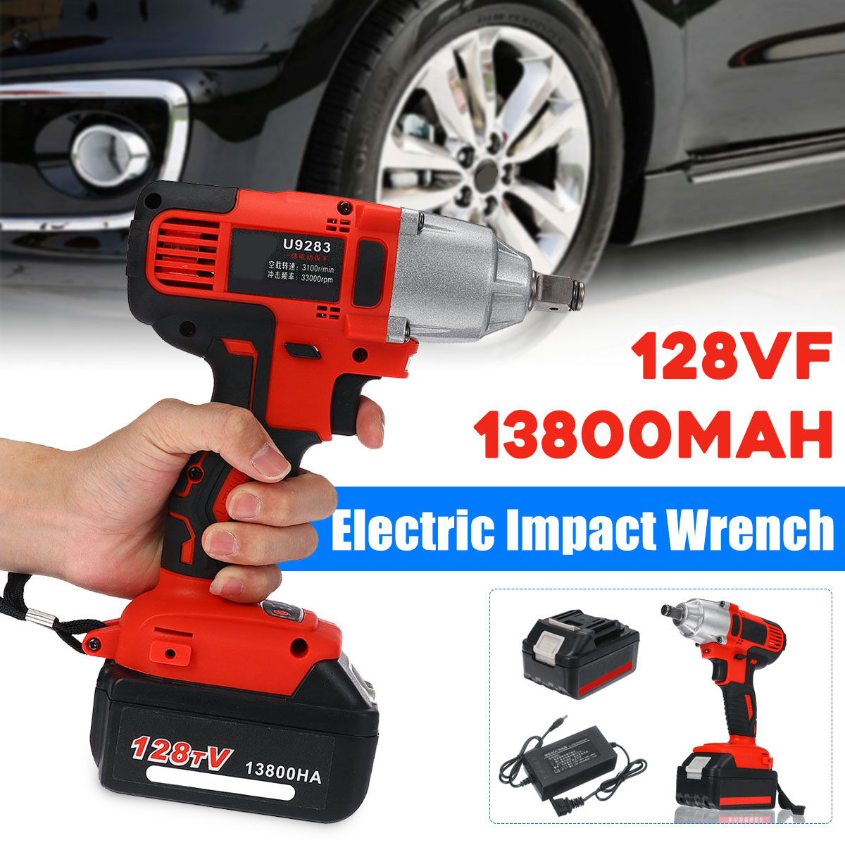 Doersupp Electric Wrench 128VF 13800mAh Multifunctional Battery Infinitely Variable Speed Electric Impact Wrench Woodworking