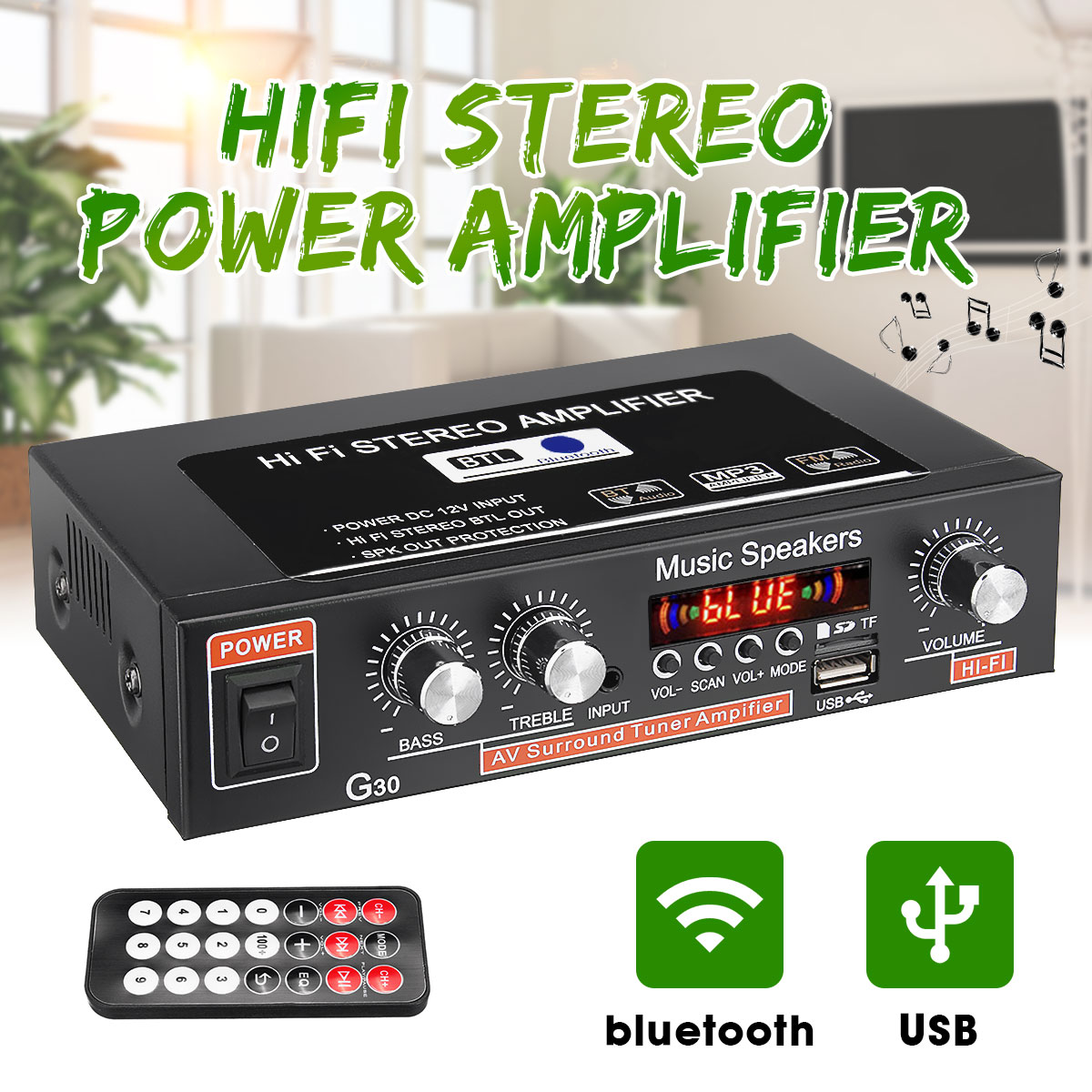 12V 220V 2-channel HiFi Stereo Audio Car Amplifier Car Audio bluetooth 2 Channel Digital Powerful Car Amplifier for Subwoofer
