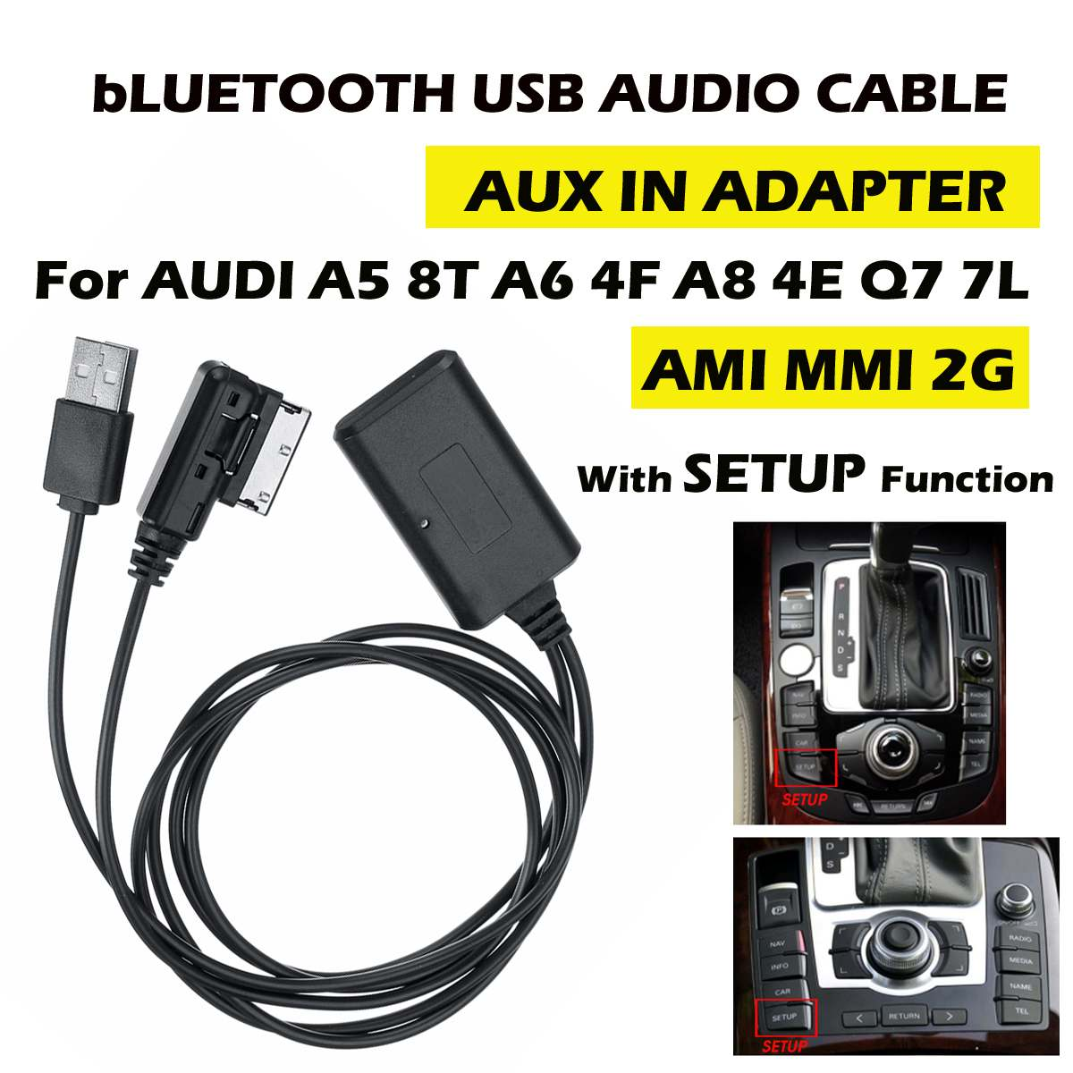 HIFI  Wireless 75cm Bluetooth Cable Audio Adapter Music Transfer AUX In For AUDI A5 8T A6 4F A8 4E Q7 7L AMI MMI 2G