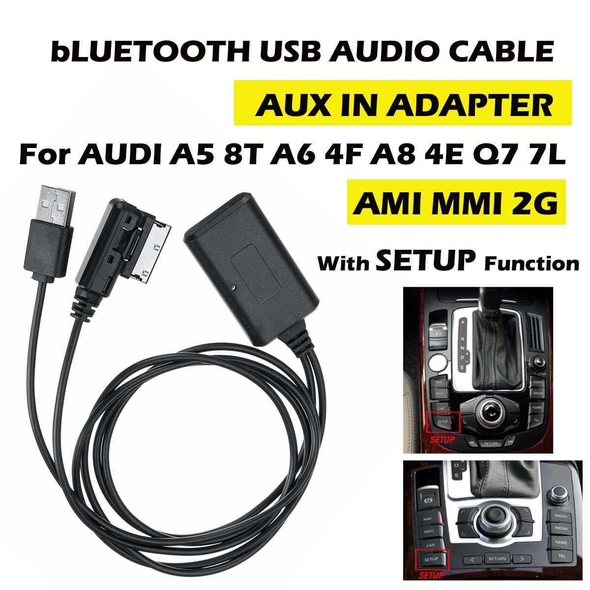 HIFI  Wireless 75cm Bluetooth Cable Audio Adapter Music Transfer AUX In For AUDI A5 8T A6 4F A8 4E Q7 7L AMI MMI 2G