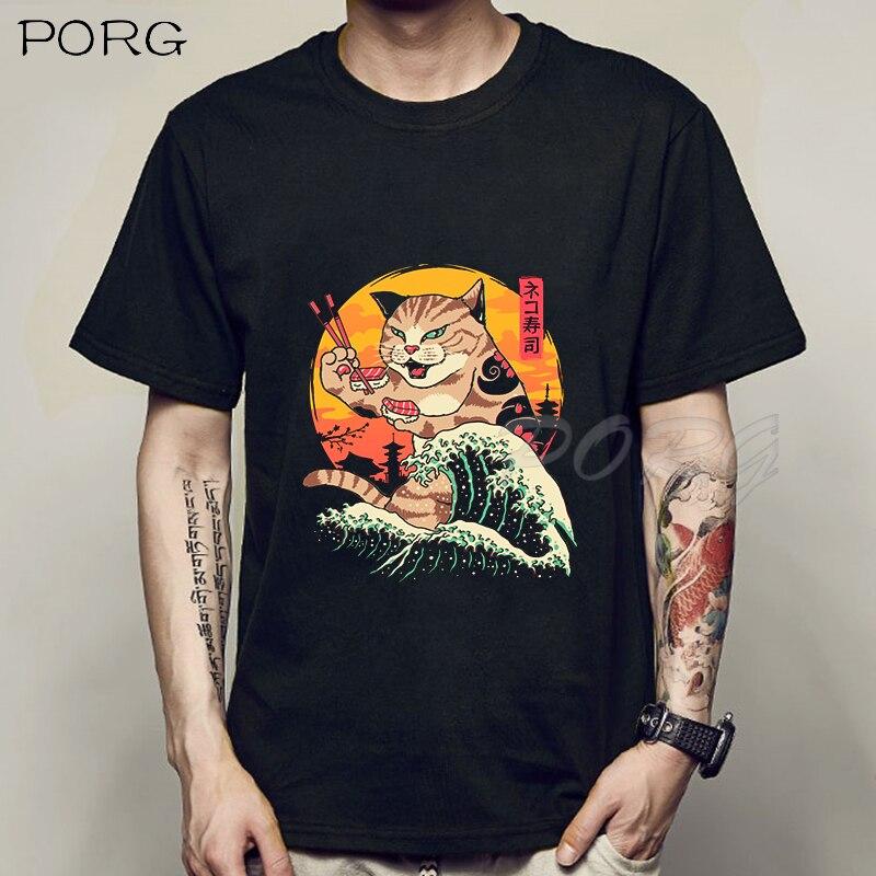 Men Catana Cool Summer Loose Men/Women T Shirt Casual Short Sleeve Cat Print Anime Tshirt Japanese Summer T-Shirt Tops Tee Shirt 2