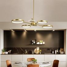 Modern Golden Circle LED Chandelier For Living Room Bedroom Kitchen Simplicity 6 Heads Pendant Lamp Fixture Home Decoration