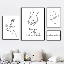 Abstract Painting Poster Canvas Wall Art Modern Love Quotes Pictures For Living Room