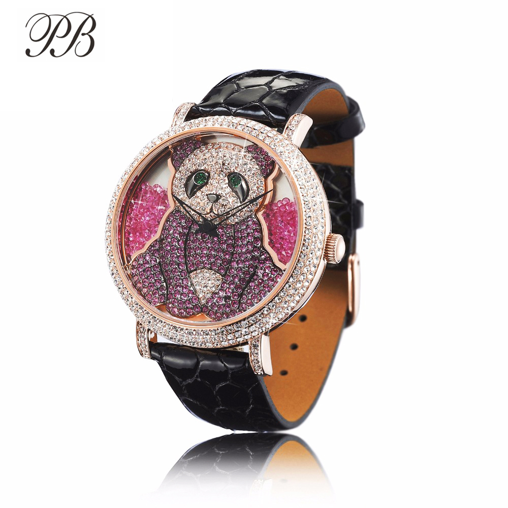 PB Women Watches Cute Panda Dial Crystal Watch Women Waterproof Leather Strap Quartz Multicolor Luxury Reloj Mujer