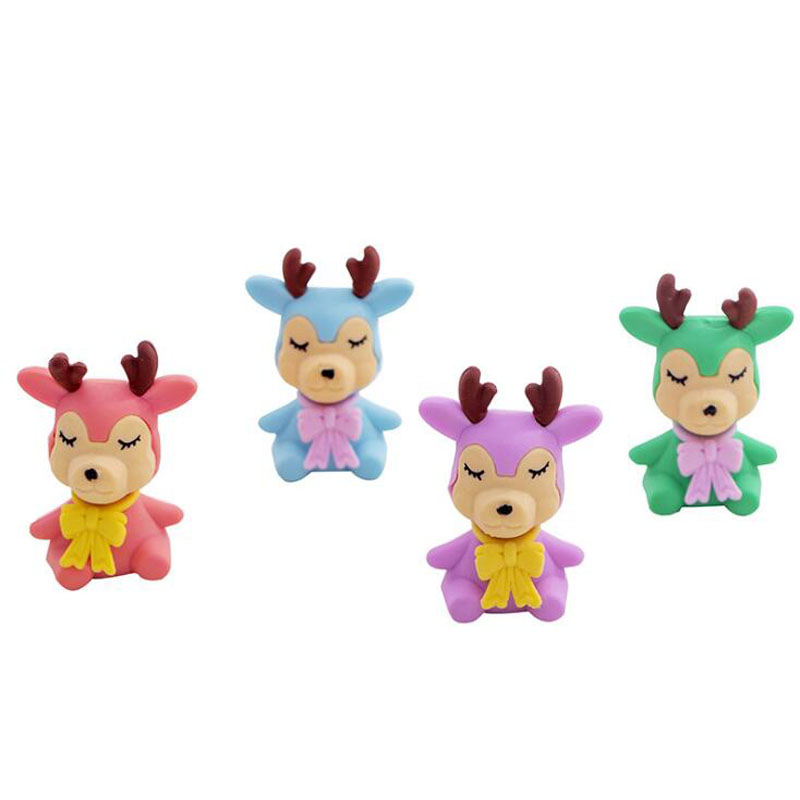 Cute Erasers Christmas Color Deer Cartoon Kindergarten Toy Eraser Creative For Funny Erasers Korean Stationery School Supplies