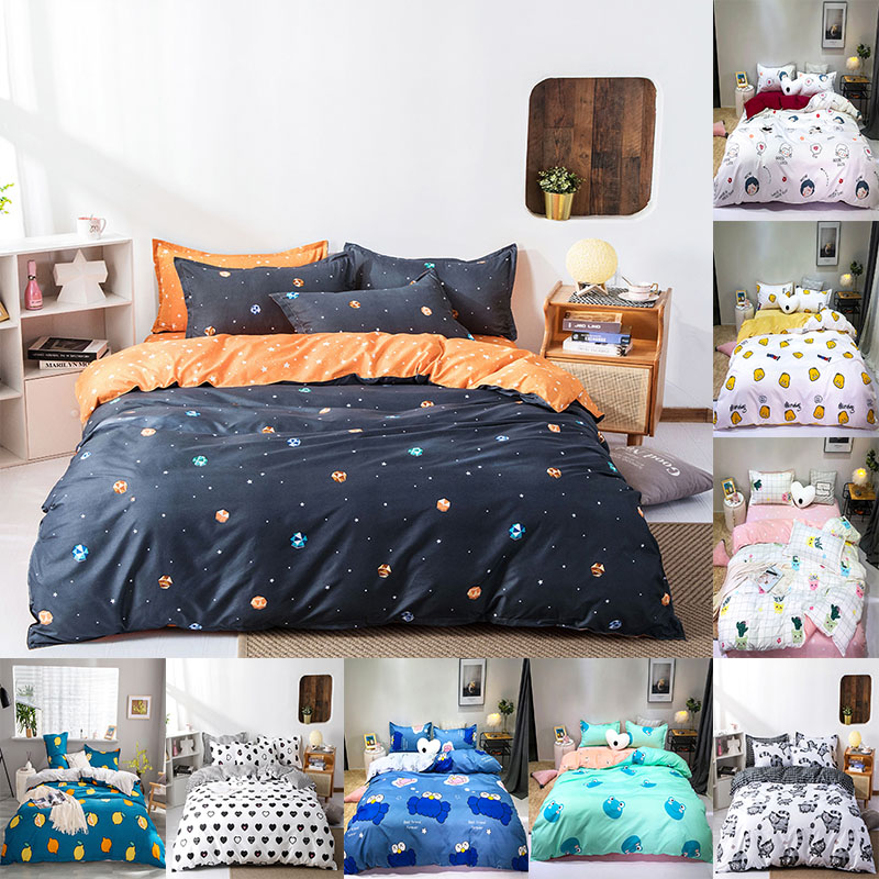 4pcs Bedding Set 2020 New Polyester Idyllic Style Bed Sheet Quilt Cover Pillowcase Suitable For Children Kawaii Large Bedding