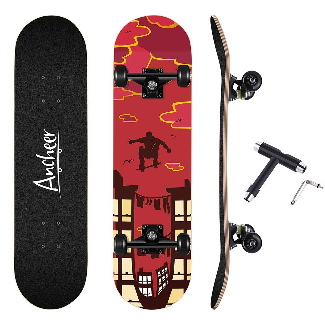 Skateboard Maple 4 Wheels Double Rocker Board Teenager Adult Figure Skating Street 3 Colors Double Up Board Red Colors Frosted 4