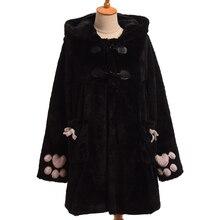 Women Cute Fluffy Hooded Cat Ears Coat Winter Warm Outwear Jacket