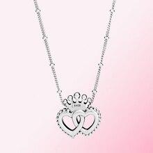 Женское классическое ожерелье с кулоном в виде сердечек из 100% стерлингового серебра 925 пробы, модные ювелирные украшения, 2019