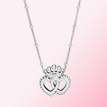 2019 100% 925 스털링 실버 ClassicCrown & Interwined Hearts 펜던트 목걸이 여성 Charm Fashion Personality Jewelry