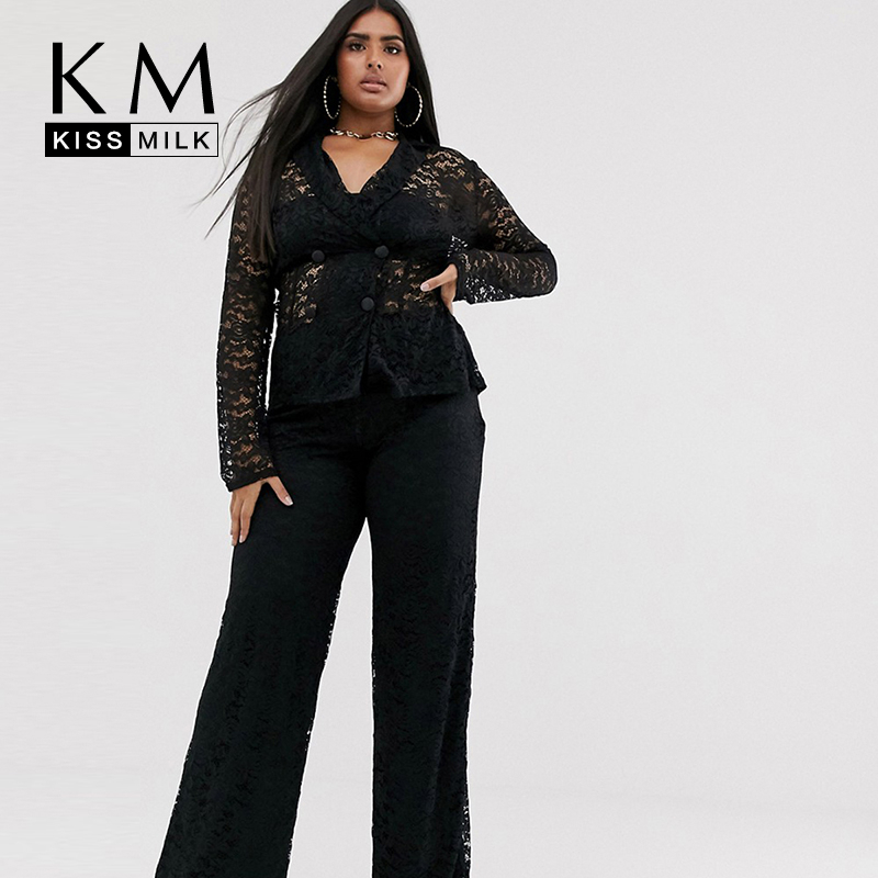 Kissmilk Summer New Arrival Fashion And Sexy Lace Large Size Pure Black Fully Lined Elasticated Waist Wide Leg Pants
