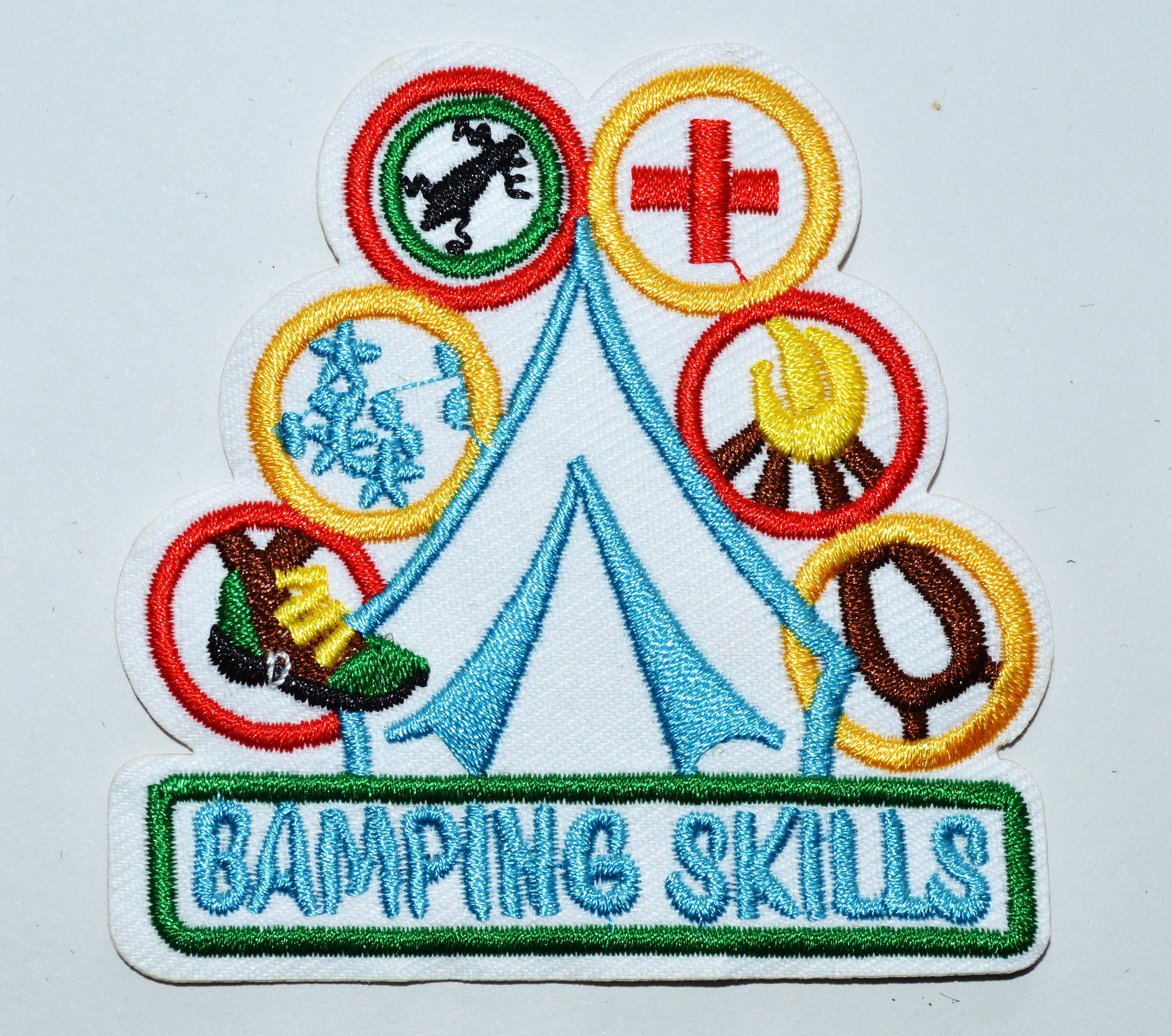 """/""""CAMP/""""  Iron IOn Patch Scouts Girl Boy Cub Camper Outdoors Vacation"""