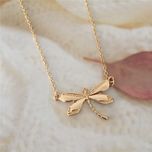 Trendy Women Cute Pendant Short Chain Necklace Gold Color Dragonfly Pendant Necklace for Girl Best Gift Casual Party Fashion her jewellery cute small bear pendant necklace best fashion pendant made with crystals from swarovski hp0538