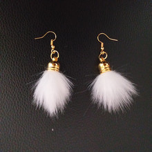 20 Colors Mini Fur Pompon Drop Earrings Fluffy Fur Ball Earrings Women Gold Hooks Drop Earrings Jewelry Party Gifts