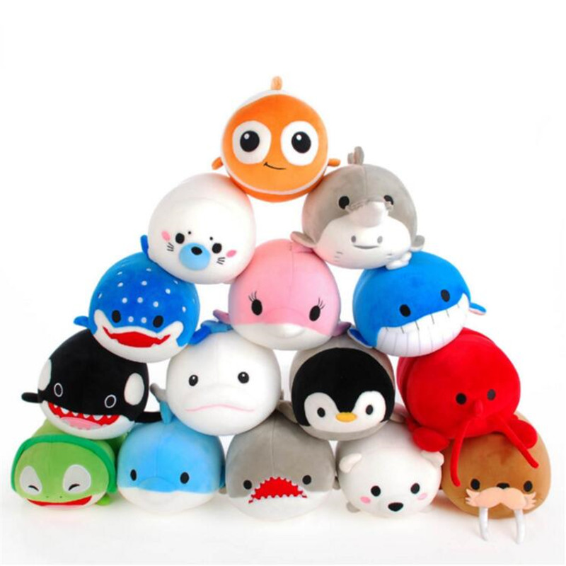 Cute Dolphin Seals Walruses <font><b>Killer</b></font> <font><b>Whales</b></font> <font><b>Whale</b></font> Sharks <font><b>Plush</b></font> Toys, Ocean Alliance Foam Particles Children Doll Christmas Gift image