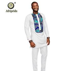 2019 Afrikaanse mannen suits dashiki kleding print shirts tops + broek met zakken 2 delige set ankara outfit blouse AFRIPRIDE s1916005