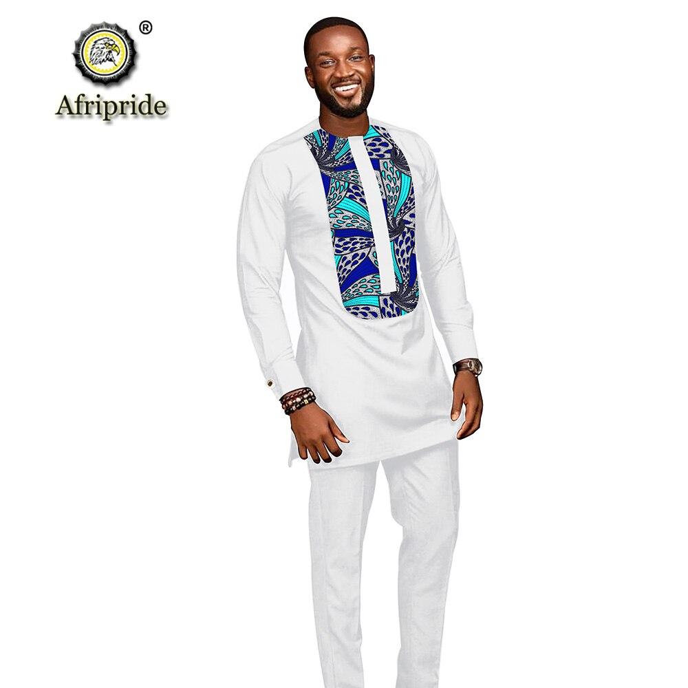 Trajes para hombres africanos 2019 ropa dashiki camisetas con impresión + Pantalones con bolsillos conjunto de 2 piezas blusa atuendo de Ankara AFRIPRIDE S1916005
