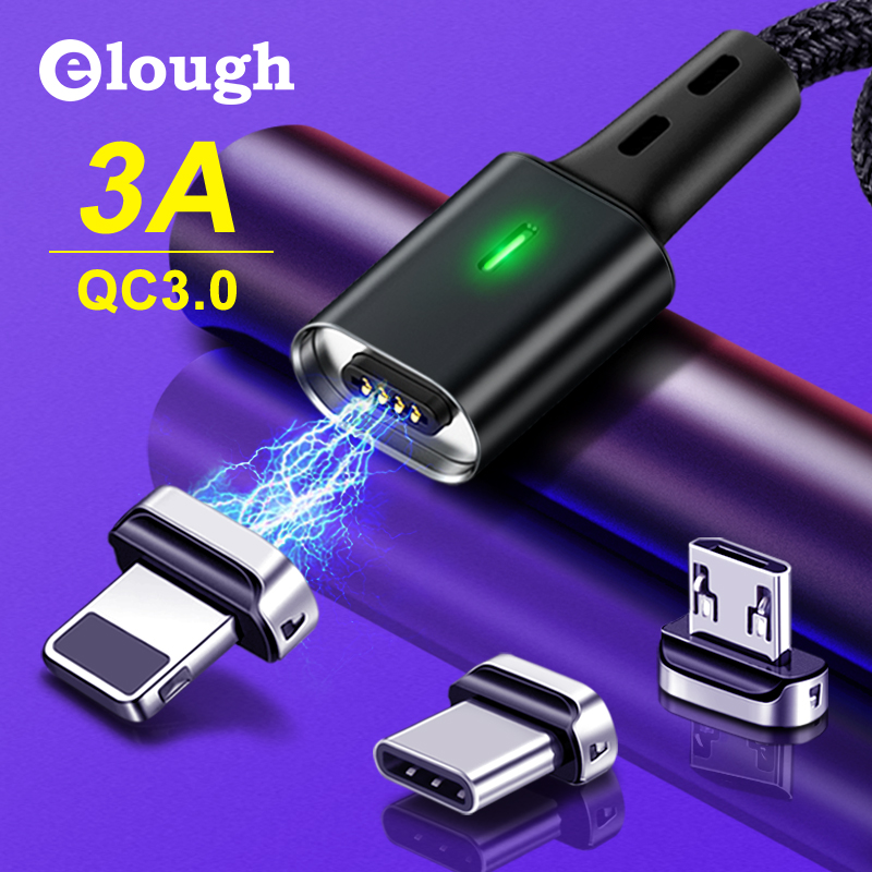 Cabo magnético usb tipo c do carregador do micro usb para o iphone 7 cabo magnético do carregador de usb do tipo c do elough 2 m cabo magnético de usb para o iphone xr samsung a50