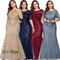 Mermaid Evening Gown It's Yiiya C545 Sparkle Sequined Tulle Robe De Soiree Long O Neck Plus Size Short Sleeves Evening Dresses