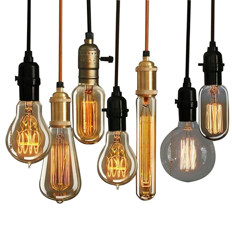 Ժամանակակից Nordic Retro Edison փակ լամպ E27 / 220V թեթև վինտե ձեղնահարկ հնաոճ իրեր կարգավորելի շատ գույներով լուսատուներ Abajur փայլ