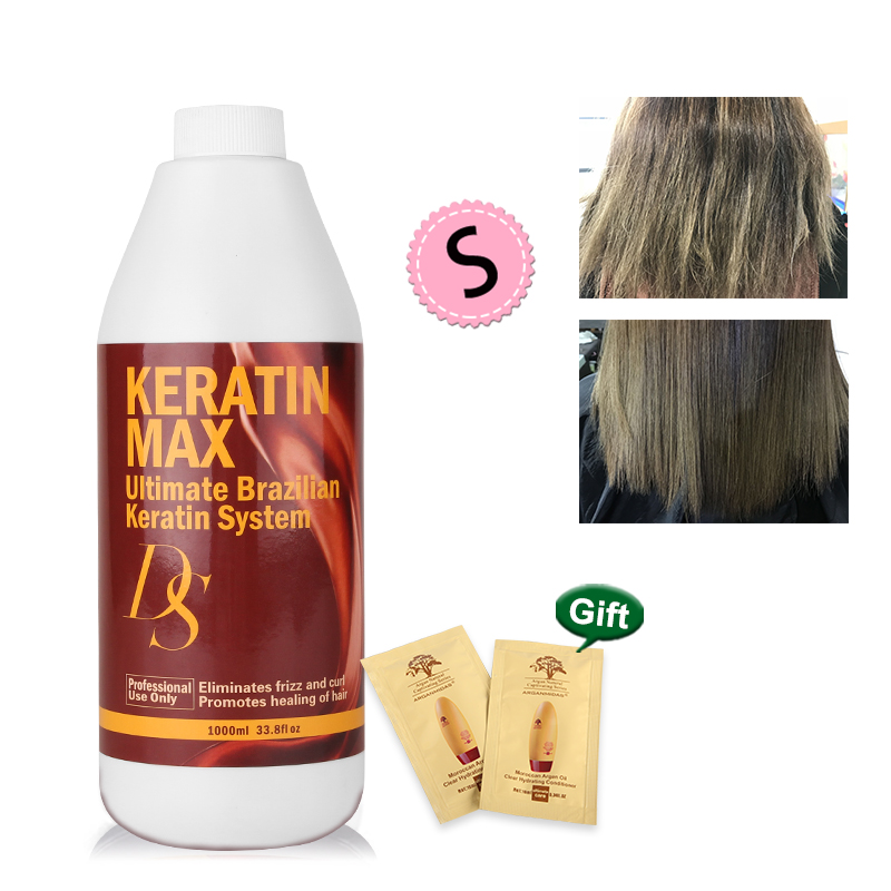 Купить с кэшбэком DS Max 1000ML Brazilian Keratin Treatment 8% Formalin Straighten and Repair Smoothing Strong Cruly Hair Free Shipping